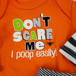 Halloween Onsie Pants Orange Pumpkin Size 3 months